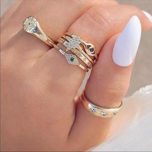 Evil Eye Gold Boho Ring Set